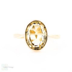 Antique Citrine 9ct Ring, Light Yellow Bezel Set Single Stone Citrine Ring. Circa 1890s, 9k.