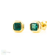 Emerald 18k Stud Earrings, Square Step Cut Vivid Green Emeralds Bezel Set in a Stepped 18ct Gold Mounting.
