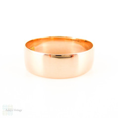 Antique 9ct Gold Wedding Ring, Circa 1910s Wide Rose Gold Men's or Women's D Profile Band. Size R / 8.75.
