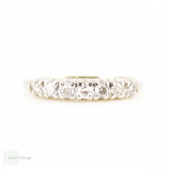 Art Deco Diamond Wedding Ring, Old Cut Diamond & Platinum Half Hoop Eternity Band. 0.18 ctw, Circa 1920s.