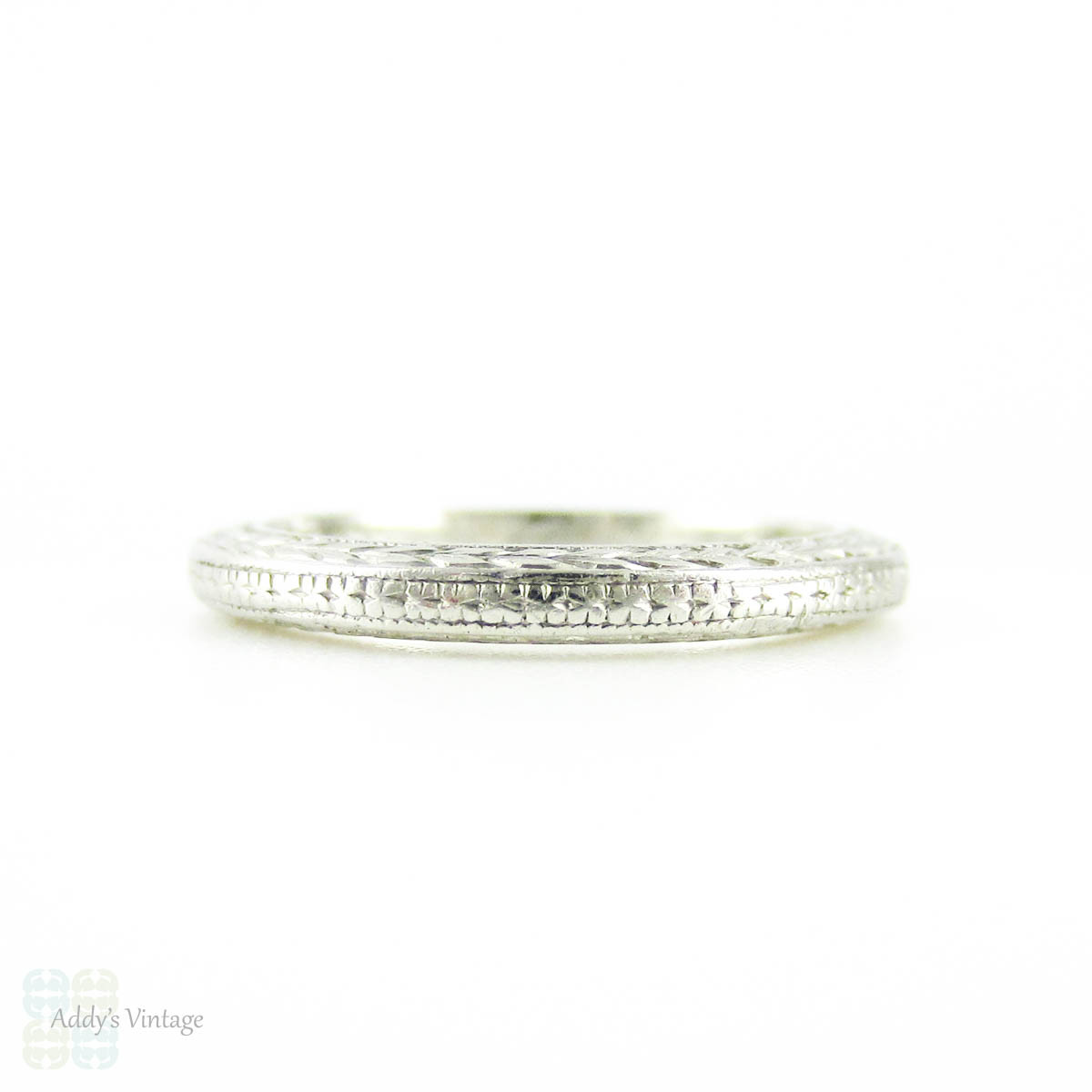 wedding engraved ring design pin band by antique platinum addy leaf bands