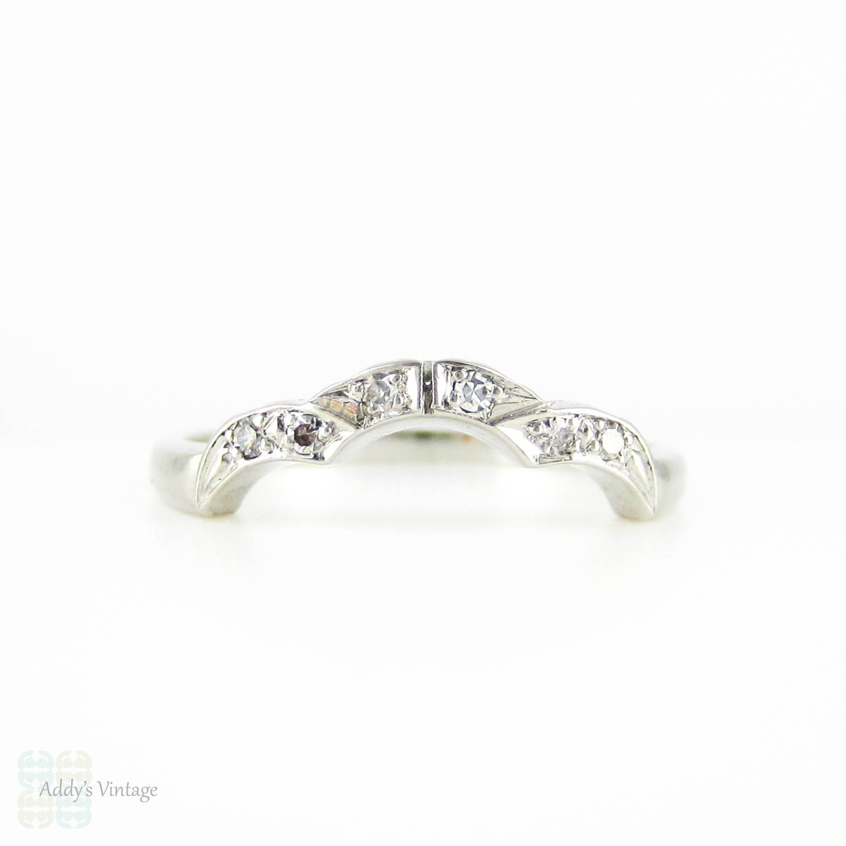 Art Deco Curved Wedding Ring Platinum Diamond Shaped Wedding Band