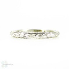 Art Deco Hand Engraved Platinum Wedding Ring, Leaf Pattern Band with Milgrain Beading. Circa 1920s, Size N / 6.75.