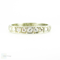 Vintage Diamond Wedding Ring, 1930s Half Hoop 9 Stone Band with Engraved Flowers. 18 ct, Size K.5 / 5.5.