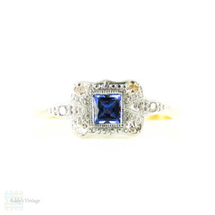Art Deco Sapphire & Diamond Ring, French Cut Cornflower Blue Sapphire. Circa 1920s, 18ct & Platinum.