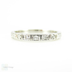 Vintage Platinum Diamond Wedding Ring, Engraved Art Deco  Diamond Band. Circa 1930s, Size J / 5.