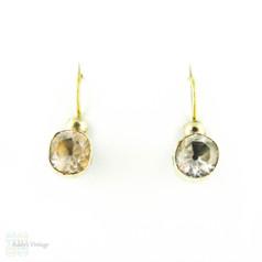 Antique Paste Conversion Earrings, Georgian Black Dot Old Cut Paste Drop Earrings in Gilt Metal. Circa 1800s.