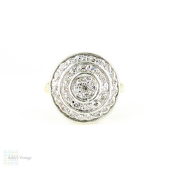 Diamond Target Ring, Circular Shape Domed Pave Set Diamond Dress Ring. 14k, Mid 20th Century.
