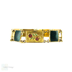 1940s Enamel & Brass Bracelet, Vintage Poppy Flower Green and Red Enamel Link Bracelet.