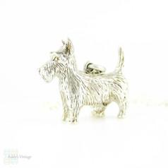 Silver Scottie Dog Pendant, Large Edwardian Sterling Silver Scottish Terrier Charm on Adjustable Sterling Chain.