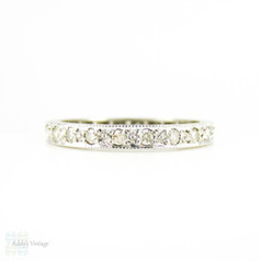 1930s Diamond Eternity Ring, 18ct White Gold Full Hoop Wedding Band with Engraved Sides. Size M / 6.25.