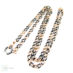 Antique Niello & Rose Gold Gilt Chain, French Long Curb Link Necklace with Spring Bolt Clasp. Circa 1900, 73 cm / 28.75 inches.