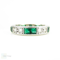 Emerald & Diamond Eternity Ring, Vintage 18ct Full Hoop Wedding Band with Engraved Sides. Size M / 6.25.