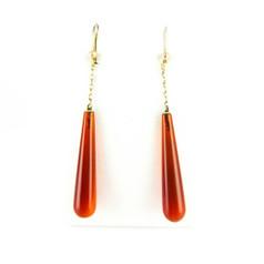 Antique Carnelian Drop Earrings, Long Orange Red Chalcedony Dangle Earrings. 14 Carat Gold, Circa 1900s.