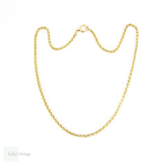 Edwardian 9ct Gold Chain, Heavy Antique Wheat Link Woven Necklace. 50 cm / 19.75 inches, 16.3 grams.
