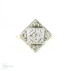 1930s Diamond Engagement Ring, Kite Shape Pave Set Art Deco Ring with Milgrain Beading. 18ct PLAT.