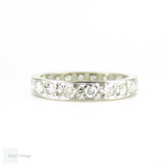 Vintage 1920s Diamond Eternity Ring, Art Deco 18ct White Gold Full Hoop Wedding Band. Size M / 6.25.