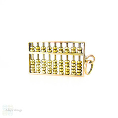 Vintage 14K Gold Abacus Charm, Tactile Moving Yellow Gold Mid 20th Century Pendant.