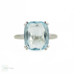 Aquamarine Single Stone Ring in 18ct White Gold, Cushion Cut Gem in Double Claw Solitaire Mounting.