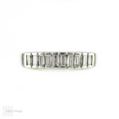 Mid Century Baguette Diamond Ring, 1940s Platinum Vertical Half Hoop Eternity Band.