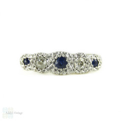Antique Five Stone Diamond Ring, Graduated Blue Sapphires & Old Mine Cut Diamonds. Circa 1880s, 18ct & PLAT.