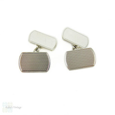 Mid Century Sterling Silver Cuff Links, Men's Engraved Rectangular Shaped Double Face Cufflinks. Circa 1960s.