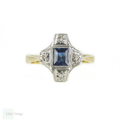 Art Deco Sapphire & Diamond Ring, Cruciform Circa 1920s Ring. Milgrain Beading in 9ct & Platinum.