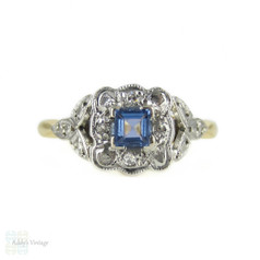 Art Deco Sapphire & Diamond Engagement Ring by Bravingtons, Circa 1930s, 18ct & Platinum.
