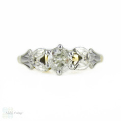 Antique Diamond Engagement Ring, Old Mine Cut Diamond in Engraved 1930s 18ct & Platinum Setting.