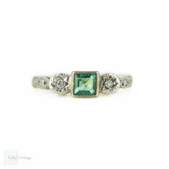 Emerald & Diamond Engagement Ring, Engraved Setting Three Stone 18ct Ring Circa 1930s.