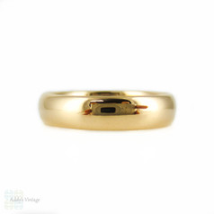 Antique 22ct Gold Wedding Ring, Ladies 4mm Court Fit Wedding Band. Circa 1900s, Size L.5 / 6.