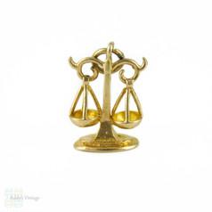 Vintage 9ct Gold Scales Charm, Scales of Justice or Libra Zodiac Fully 9K Hallmarked Mid 20th Century Pendant.