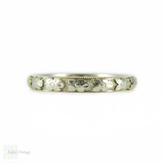 1930s Engraved Wedding Ring, 18k White Gold Orange Blossom Engraved Band by Traub. Size L / 5.75.