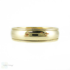Men's 9ct Yellow Gold Wedding Band, Medium Width Ring with Milgrain Beading Edge. Size U / 10.