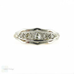 Edwardian Five Stone Ring, Graduated Half Hoop Ring in Engraved Setting. Circa 1900, 18ct.