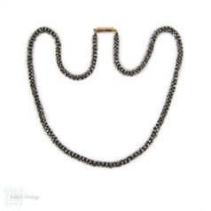 Cut Steel Necklace, Restrung Victorian Era Cut Steel Chain with 9ct Gold Clasp. 41.5 cm / 16.33 inches.