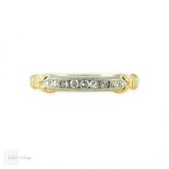 1940s Diamond Wedding Ring, Half Hoop Five Stone Band with Engraving. 14k & Palladium.