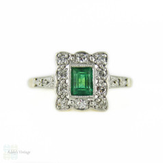 Art Deco Emerald & Diamond Engagement Ring, Rectangle Cluster Ring. Circa 1930s, 9ct & Platinum.