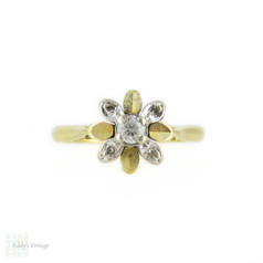 1960s Floral Ring, Diamond & Paste Cluster Ring in 18ct Yellow & White Gold.