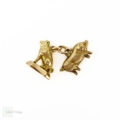 Antique 9ct Gold Lucky Pig Charms, Set of 2 Small 9k Gold Victorian Charms.
