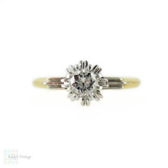 Sunburst Single Stone Diamond Engagement Ring, Vintage 0.22 ct Solitaire in Two Tone 18ct Gold.
