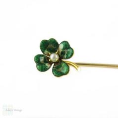 Vintage Enamel Lucky Clover Pin, Green Enamel Shamrock in 14K Yellow Gold.