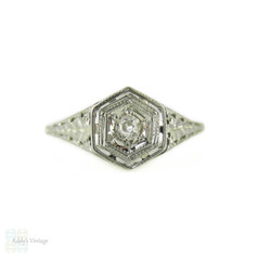 Filigree Diamond Engagement Ring, 1930s Pierced Floral Engraved Solitaire. 14K White Gold.