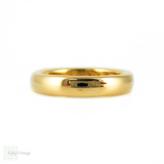 Art Deco 22ct Gold Wedding Ring, 1930s Ladies Court Fit Band. Size K / 5.25.