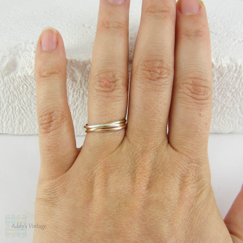 Narrow Gold Russian Wedding Rolling Ring Delicate Three TriColour