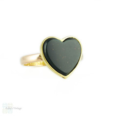 Bloodstone Heart Ring, Conversion Signet Style 18k Heart on Antique 15ct Chester Gold Band.