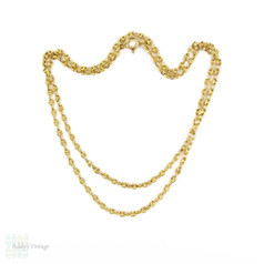 Anchor Link Chain Necklace, Vintage 9ct Yellow Gold 1970s Sailor Link. 62.5 cm / 24.5 inches.