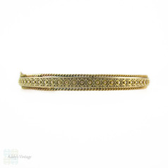 Victorian Era Etruscan Revival 9ct Gold Bangle Bracelet. Chester 1890s Hallmarked Bracelet.
