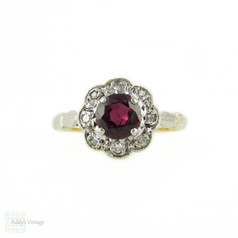 1940s Ruby & Diamond Engagement Ring, Daisy Flower Design Cluster with Engraved Setting. 18ct & Platinum.