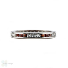 Garnet & Diamond Eternity Ring, 14k Channel Set Full Hoop Wedding Band. Size L.5 / 6.